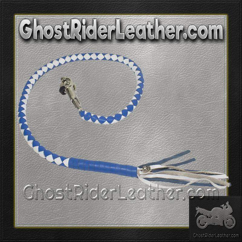 Get Back Whip in White and Blue Leather - Motorcycle Accessories - SKU GRL-GBW16-11-DL-get back whip-Ghost Rider Leather