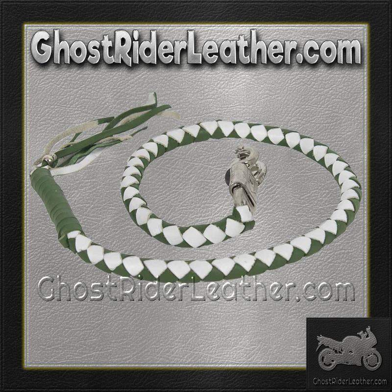 Get Back Whip in White and Green Leather - Motorcycle Accessories - SKU GRL-GBW17-11-DL - Ghost Rider Leather