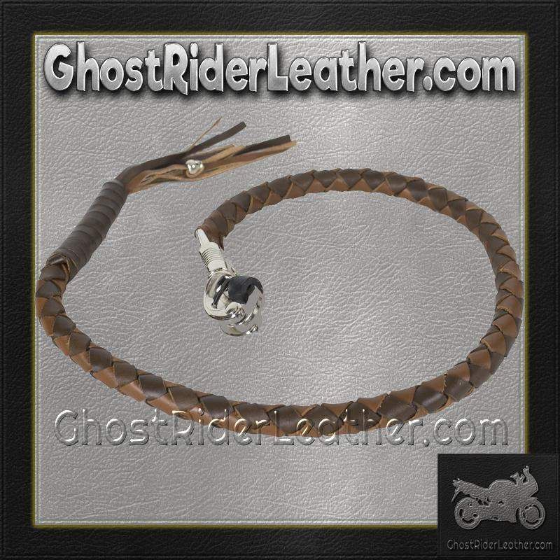 Get Back Whip in Two Tone Brown Leather - Motorcycle Accessories - SKU GRL-GBW18-11-DL-get back whip-Ghost Rider Leather