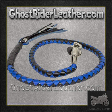 Get Back Whip in Black and Blue Leather - Motorcycle Accessories - SKU GRL-GBW2-11-DL-get back whip-Ghost Rider Leather