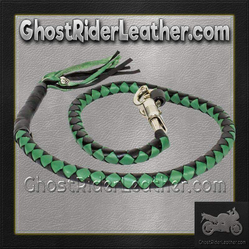 Get Back Whip in Black and Green Leather - Motorcycle Accessories - SKU GRL-GBW4-11-DL - Ghost Rider Leather