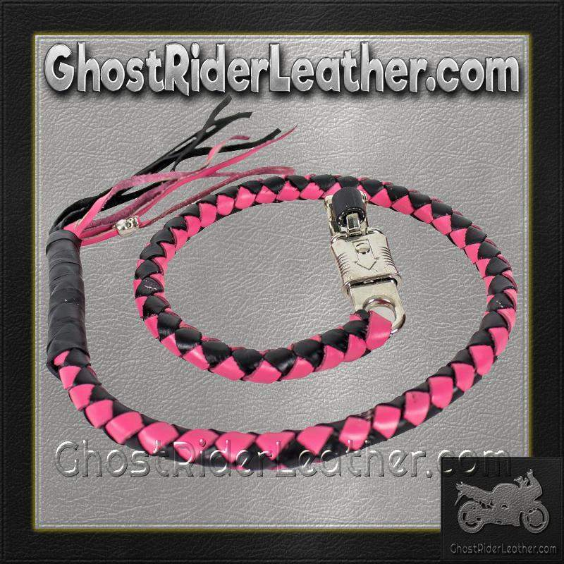 Get Back Whip in Pink and Black Leather - Motorcycle Accessories - SKU GRL-GBW5-11-DL-get back whip-Ghost Rider Leather