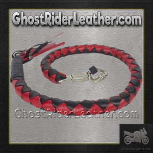 3 Inch Fat Get Back Whip in Black and Red Leather - Motorcycle Accessories - SKU GRL-GBW6-11-T2-DL-get back whip-Ghost Rider Leather
