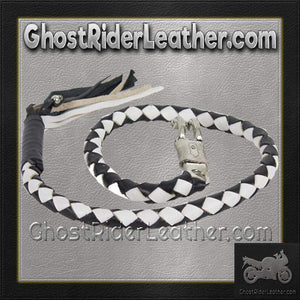 2 Inch Fat Get Back Whip in Black and White Leather - Motorcycle Accessories - SKU GRL-GBW7-11-T1-DL - Ghost Rider Leather