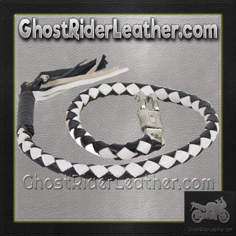 2 Inch Fat Get Back Whip in Black and White Leather - Motorcycle Accessories - SKU GRL-GBW7-11-T1-DL-get back whip-Ghost Rider Leather