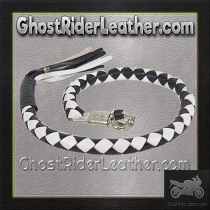 3 Inch Fat Get Back Whip in Black and White Leather - Motorcycle Accessories - SKU GRL-GBW7-11-T2-DL - Ghost Rider Leather