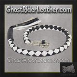 3 Inch Fat Get Back Whip in Black and White Leather - Motorcycle Accessories - SKU GRL-GBW7-11-T2-DL-get back whip-Ghost Rider Leather