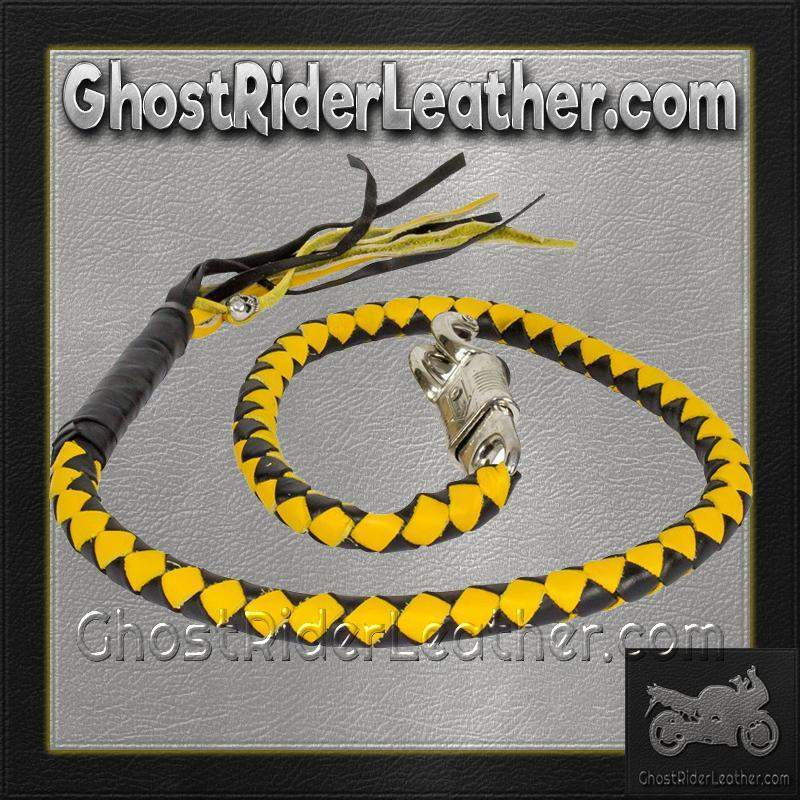 Get Back Whip in Black and Yellow Leather - Motorcycle Accessories - SKU GRL-GBW8-11-DL - Ghost Rider Leather