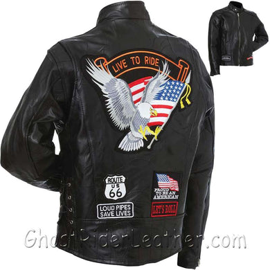 Mens Diamond Plate Patchwork Leather Motorcycle Jacket With Patches / SKU GRL-GFCRLTRS-BN - Ghost Rider Leather