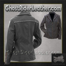 CLOSEOUT! Ladies Faux Leather Jacket with Studs / SKU GRL-GFJPS-BN-ladies leather jacket-Ghost Rider Leather