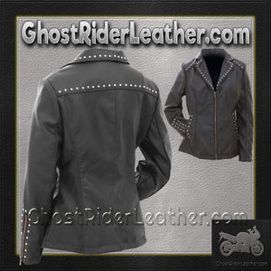 CLOSEOUT! Ladies Faux Leather Jacket with Studs / SKU GRL-GFJPS-BN - Ghost Rider Leather