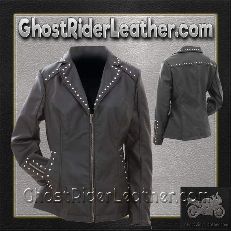 CLOSEOUT! Ladies Faux Leather Jacket with Studs / SKU GRL-GFJPS-BN