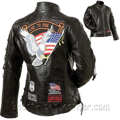 Ladies Diamond Plate Patchwork Leather Motorcycle Jacket With Patches / SKU GRL-GFLADLTRS-BN - Ghost Rider Leather