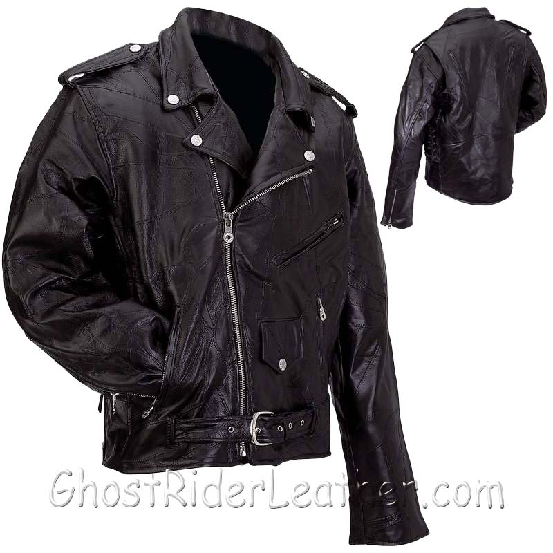 Mens Patchwork Leather Motorcycle Jacket - Big Sizes - SKU GRL-GFMOT3X-7X-BN - Ghost Rider Leather