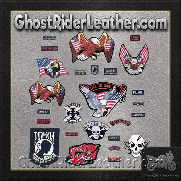 Live To Ride 26 Piece Embroidered Motorcycle Biker Patches Set- SKU GRL-GFPATCH26-BN-biker patch-Ghost Rider Leather