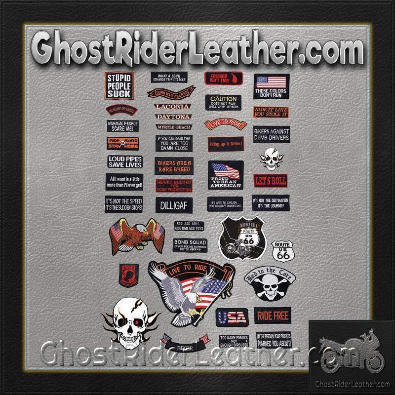Live To Ride 42 Piece Embroidered Motorcycle Biker Patches Set- SKU GRL-GFPATCH42-BN-biker patch-Ghost Rider Leather