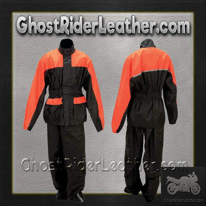 Diamond Plate Motorcycle Biker Two Piece Rain Suit / SKU GRL-GFRSPK-BN-ladies leather jacket-Ghost Rider Leather