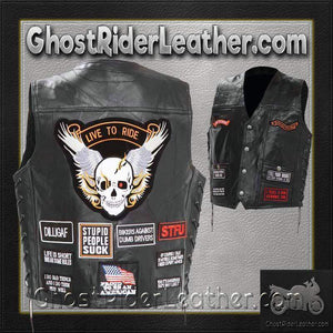 Mens Diamond Plate Patchwork Leather Vest With Concealed Carry - 16 Patches - SKU GRL-GFV16-BN - Ghost Rider Leather