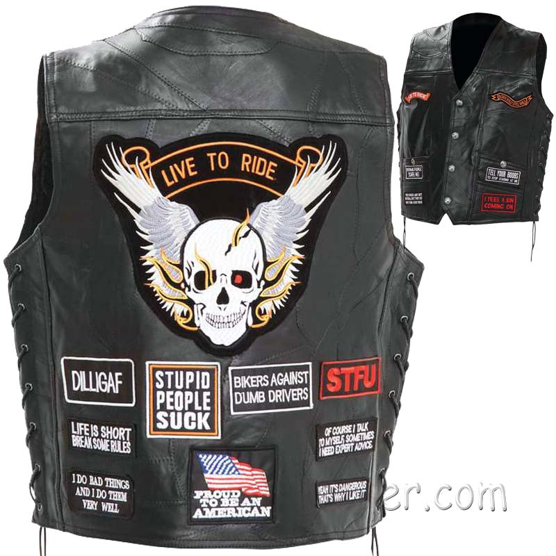 Mens Diamond Plate Patchwork Leather Vest With Concealed Carry - 16 Patches - SKU GRL-GFV16-BN-leather vest-Ghost Rider Leather