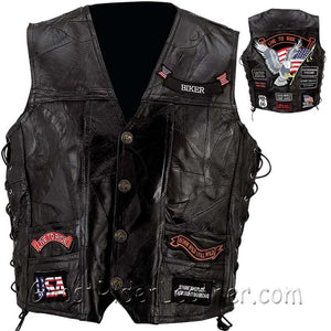 Mens Diamond Plate Big Sizes Patchwork Leather Vest With Concealed Carry - 14 Patches - SKU GRL-GFVBIK144X-7X-BN-leather vest-Ghost Rider Leather