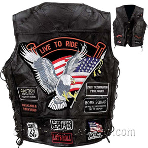 Big Sizes - Mens Diamond Plate Patchwork Leather Vest With Concealed Carry - 14 Patches - SKU GRL-GFVBIK144X-7X-BN - Ghost Rider Leather