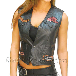 Diamond Plate Ladies Patchwork Leather Vest with Many Patches - SKU GRL-GFVLADY-BF - Ghost Rider Leather