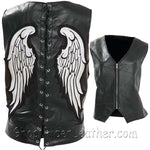 Diamond Plate Ladies Rock Design Genuine Leather Angel Wing Vest / SKU GRL-GFVLAW-BF-ladies leather vest-Ghost Rider Leather