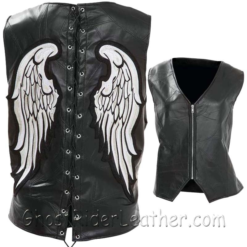 Diamond Plate Ladies Rock Design Genuine Leather Angel Wing Vest - SKU GRL-GFVLAW-BF - Ghost Rider Leather