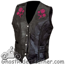 Ladies Patchwork Leather Vest with Embroidered Roses - SKU GRL-GFVROSE-BF