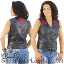 Ladies Patchwork Leather Vest with Embroidered Roses - SKU GRL-GFVROSE-BF - Ghost Rider Leather