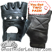 Two Pair of Fingerless Leather Gloves / SKU GRL-GL2008-X2-DL-biker gloves-Ghost Rider Leather