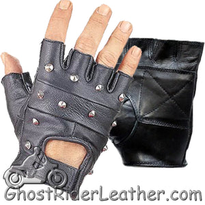 Studded Fingerless Biker Leather Motorcycle Gloves / SKU GRL-GL2010-DL-biker gloves-Ghost Rider Leather