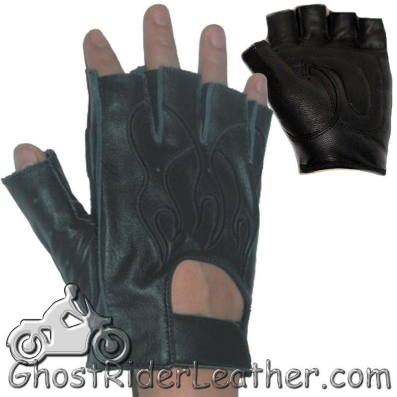 Fingerless Biker Leather Motorcycle Gloves With Black Flames - SKU GRL-GL2015-DL-biker gloves-Ghost Rider Leather