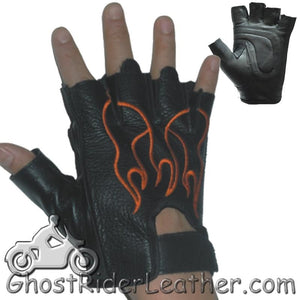 Fingerless Biker Leather Motorcycle Gloves With Orange Flames - SKU GRL-GL2017-DL-biker gloves-Ghost Rider Leather
