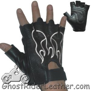 Fingerless Biker Leather Motorcycle Gloves With White Flames - SKU GRL-GL2018-DL - Ghost Rider Leather