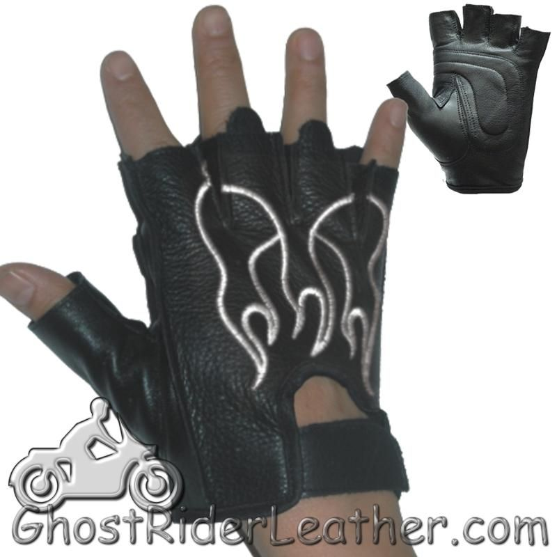 Fingerless Biker Leather Motorcycle Gloves With White Flames - SKU GRL-GL2018-DL-biker gloves-Ghost Rider Leather