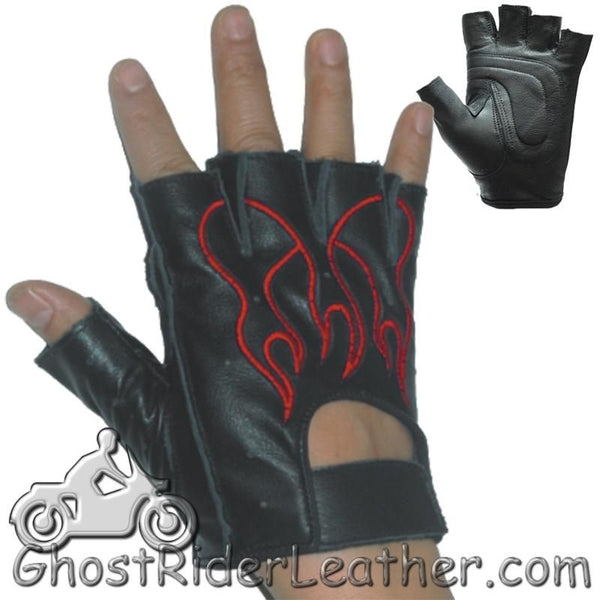 Fingerless Biker Leather Motorcycle Gloves With Red Flames - SKU GRL-GL2019-DL-biker gloves-Ghost Rider Leather