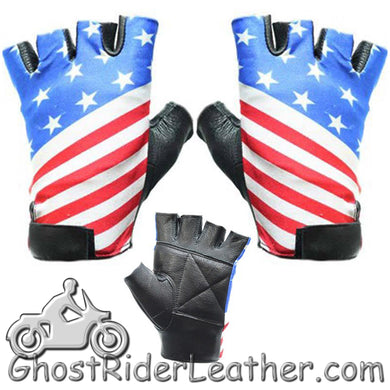 American - USA Flag Fingerless Biker Leather Motorcycle Gloves / SKU GRL-GL2034-DL-biker gloves-Ghost Rider Leather