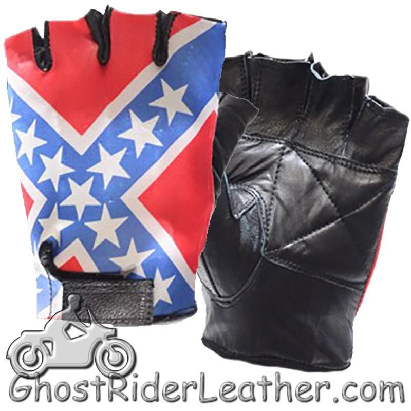 Rebel Flag Fingerless Biker Leather Motorcycle Gloves / SKU GRL-GL2038-DL - Ghost Rider Leather