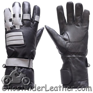 Full Finger Leather Motorcycle Riding Gloves With Gel Palms - SKU GRL-GL2039-DL-leather riding gloves-Ghost Rider Leather