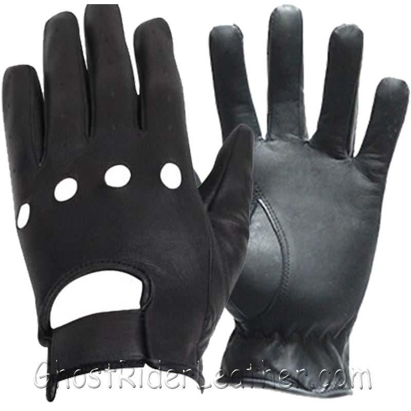 Leather Driving or Riding Gloves With Knuckle Holes - SKU GRL-GL2050-11-DL