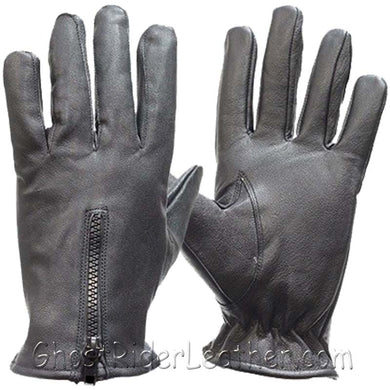 Leather Driving Gloves With Zipper Closure - Unlined - SKU GRL-GL2054-11-DL-leather riding gloves-Ghost Rider Leather
