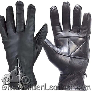 Ladies Full Finger Zipper Leather Riding Driving Gloves - SKU GRL-GL2081-DL - Ghost Rider Leather