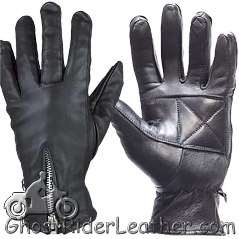 Ladies Full Finger Zipper Leather Riding Driving Gloves - SKU GRL-GL2081-DL