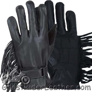 Womens Leather Riding Gloves with Fringe - SKU GRL-GL2082-DL - Ghost Rider Leather