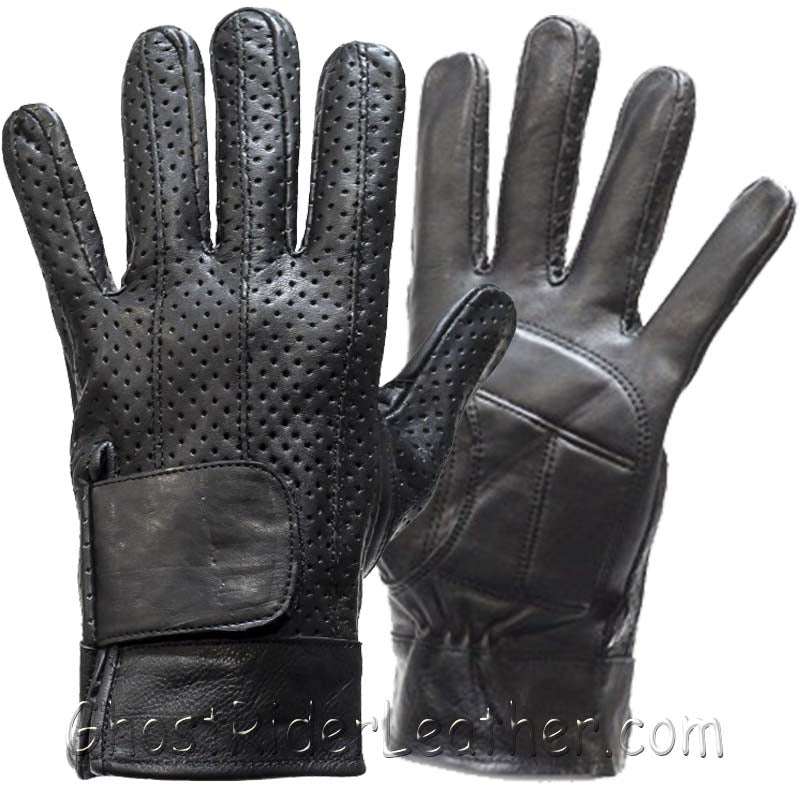 Full Finger Leather Riding Gloves with Air Vents And Gel Pads - SKU GRL-GL2084-DL - Ghost Rider Leather