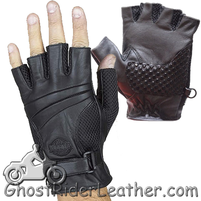 Fingerless Biker Leather Motorcycle Gloves With Gel Palms - SKU GRL-GL2092-DL-biker gloves-Ghost Rider Leather
