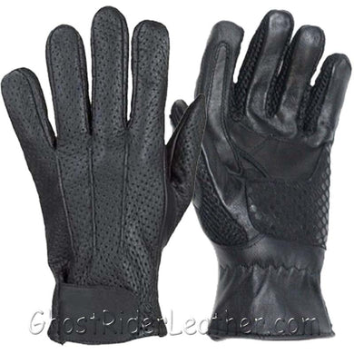 Summer Time Leather Riding Gloves with Air Vents And Gel Pads - SKU GRL-GL2093-DL-leather riding gloves-Ghost Rider Leather