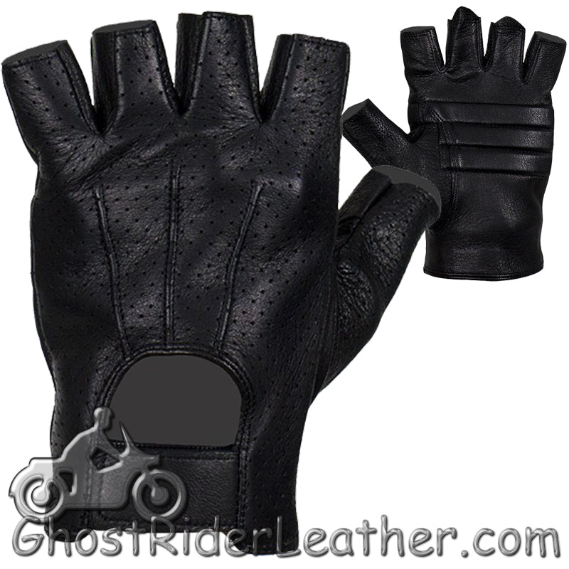 Deer Skin Premium Leather Fingerless Motorcycle Riding Gloves / SKU GRL-GLD2090-22-DL - Ghost Rider Leather
