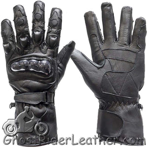 Mens Hard Knuckle Leather Gauntlet Riding Gloves - SKU GRL-GLZ10-DL